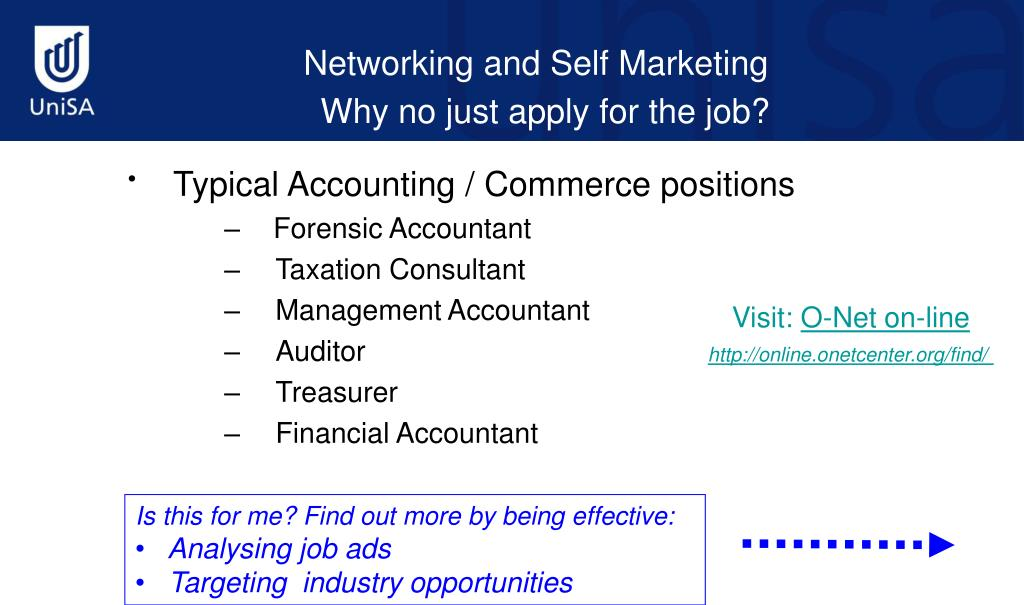 Typical Accounting / Commerce positions
