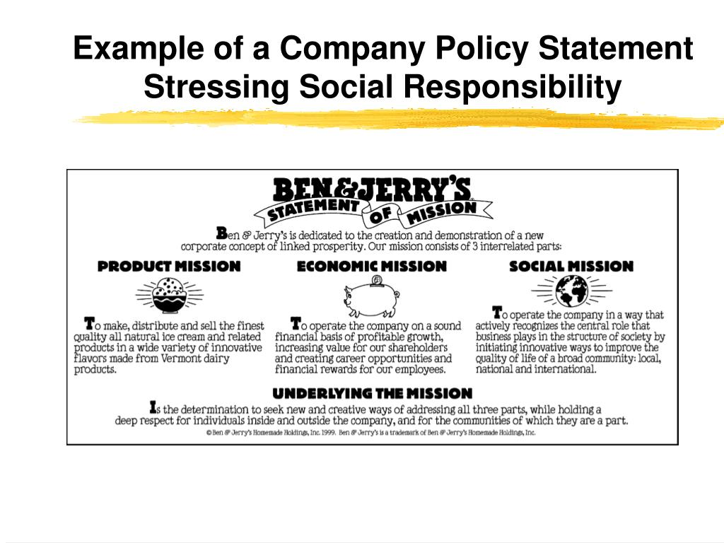 Example of a Company Policy Statement Stressing Social Responsibility