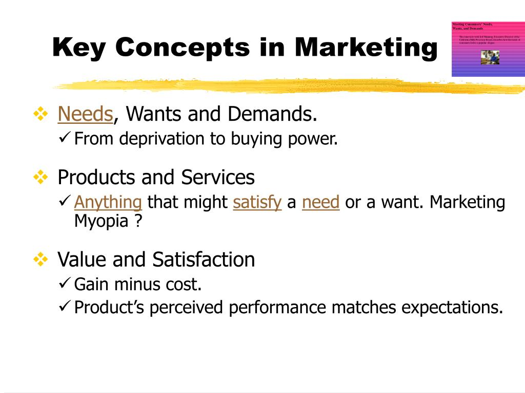 Key Concepts in Marketing