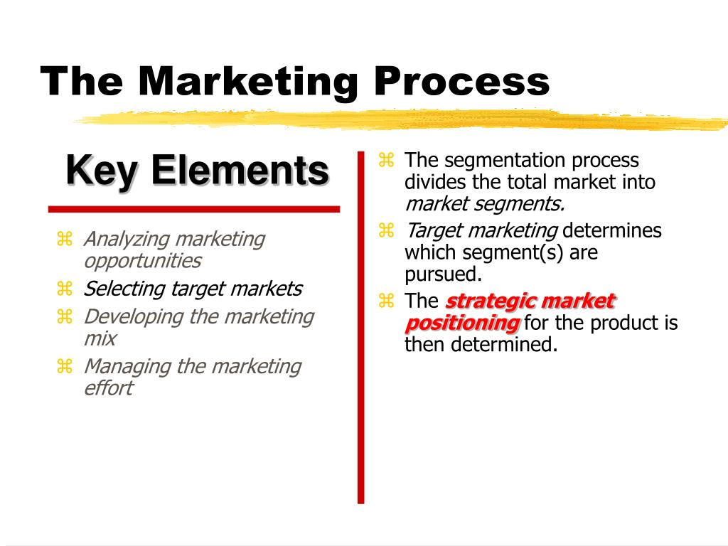 The segmentation process divides the total market into