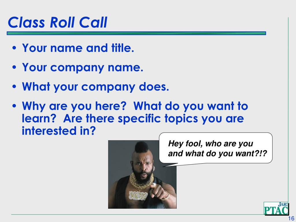 Class Roll Call