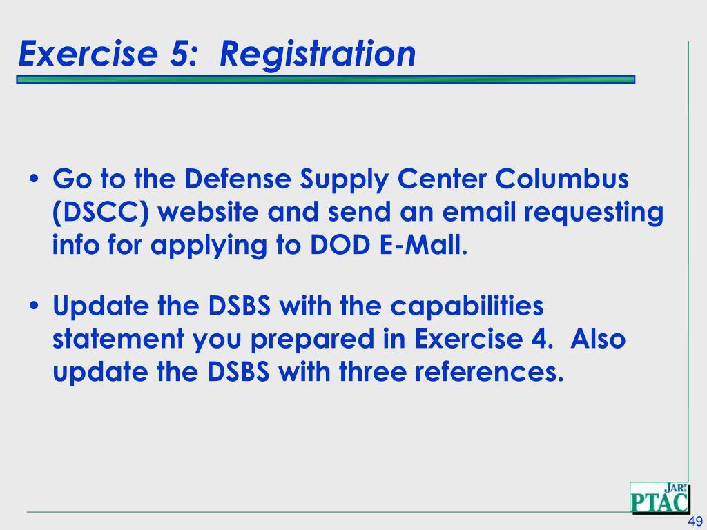 Exercise 5:  Registration