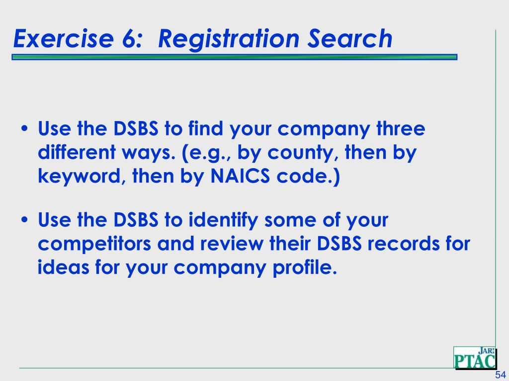Exercise 6:  Registration Search