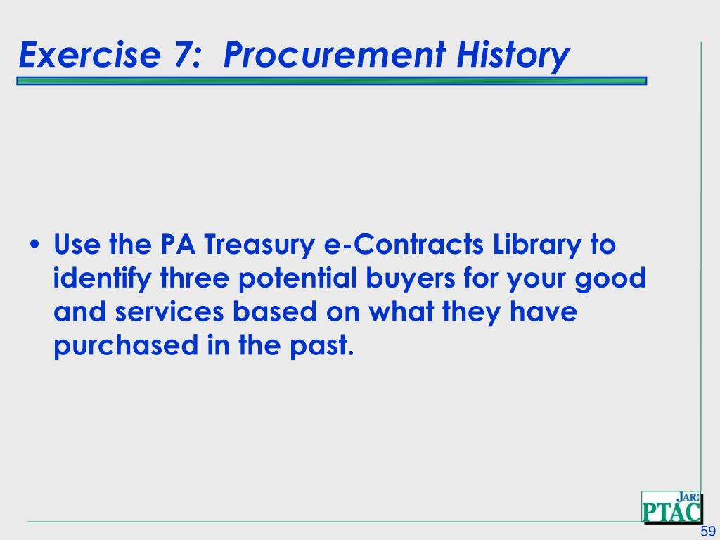 Exercise 7:  Procurement History
