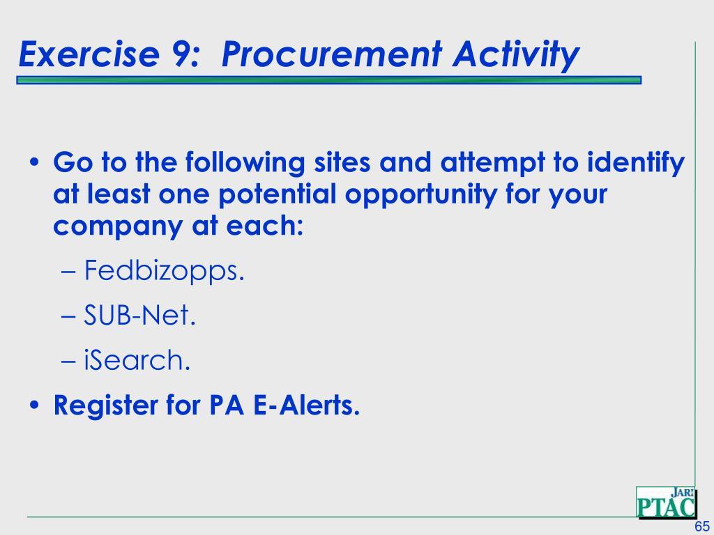 Exercise 9:  Procurement Activity