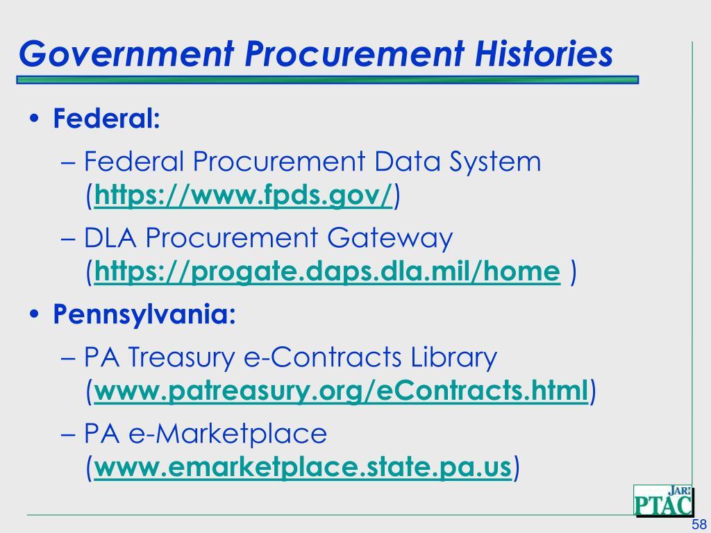 Government Procurement Histories