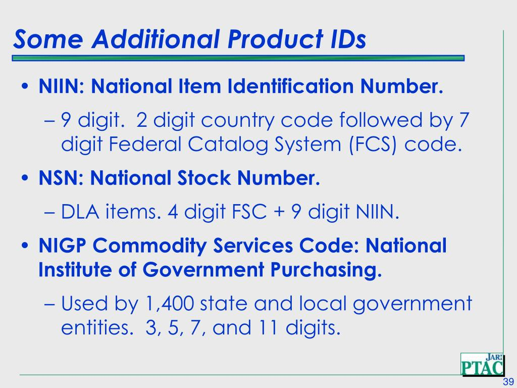 Some Additional Product IDs