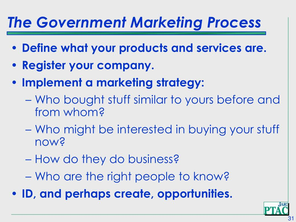 The Government Marketing Process