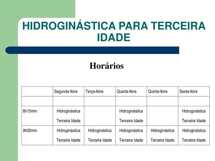 HIDROGINÁSTICA PARA TERCEIRA IDADE