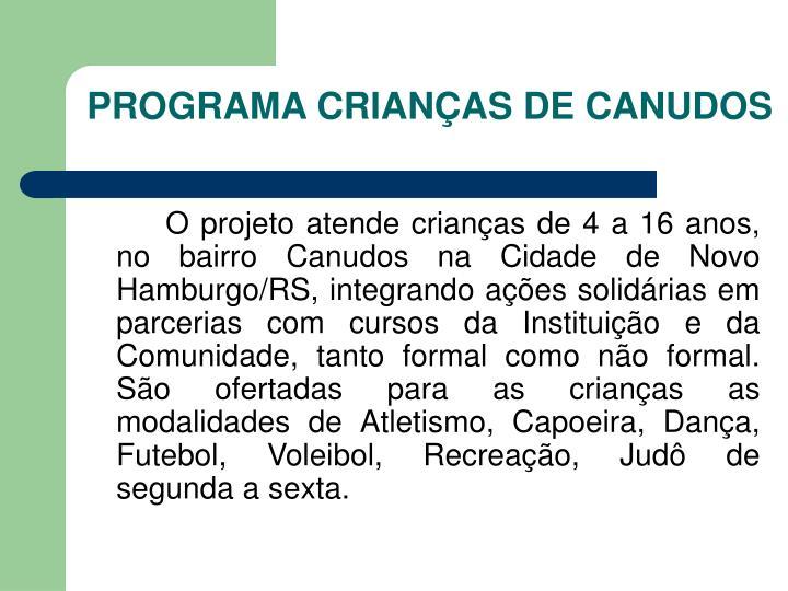 PROGRAMA CRIANÇAS DE CANUDOS