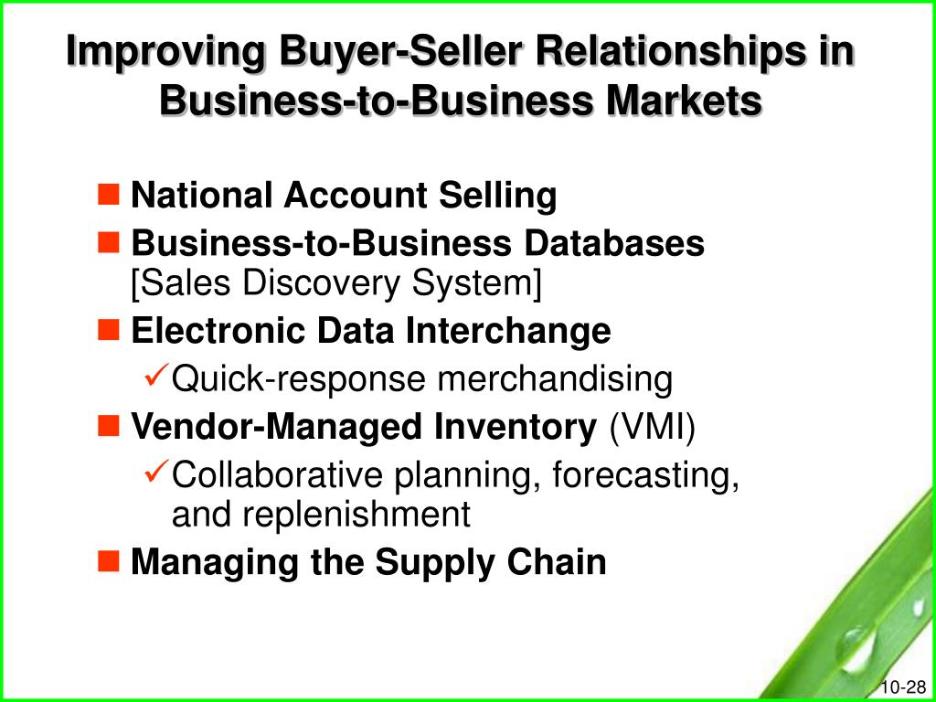 Improving Buyer-Seller Relationships in Business-to-Business Markets