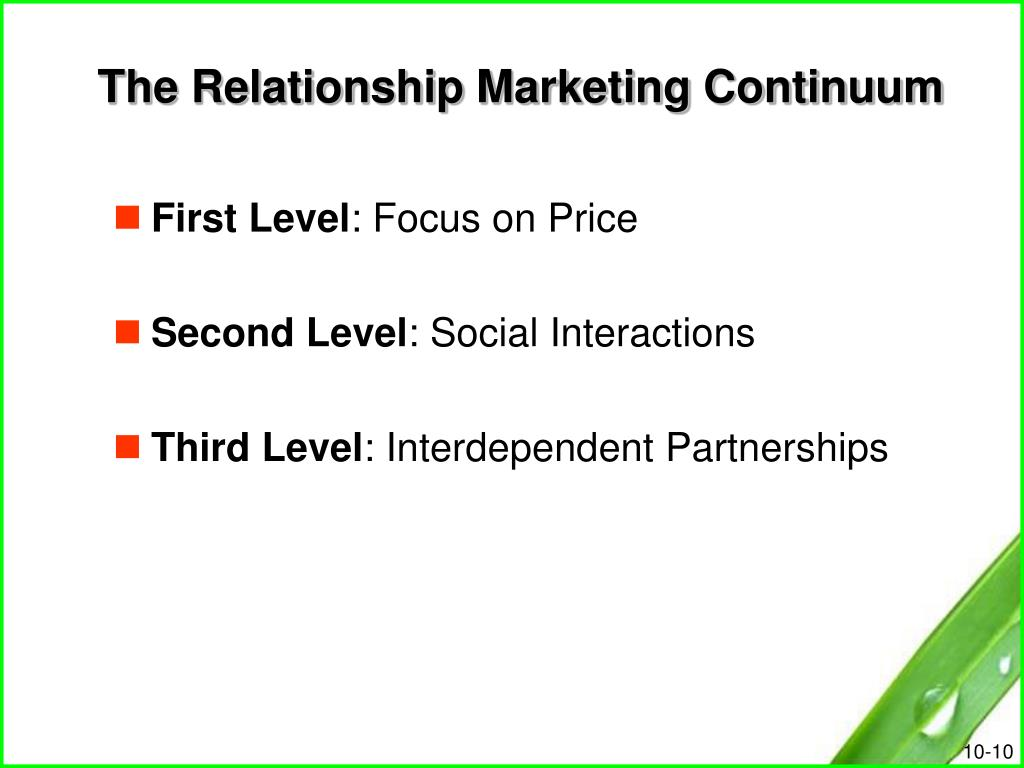The Relationship Marketing Continuum