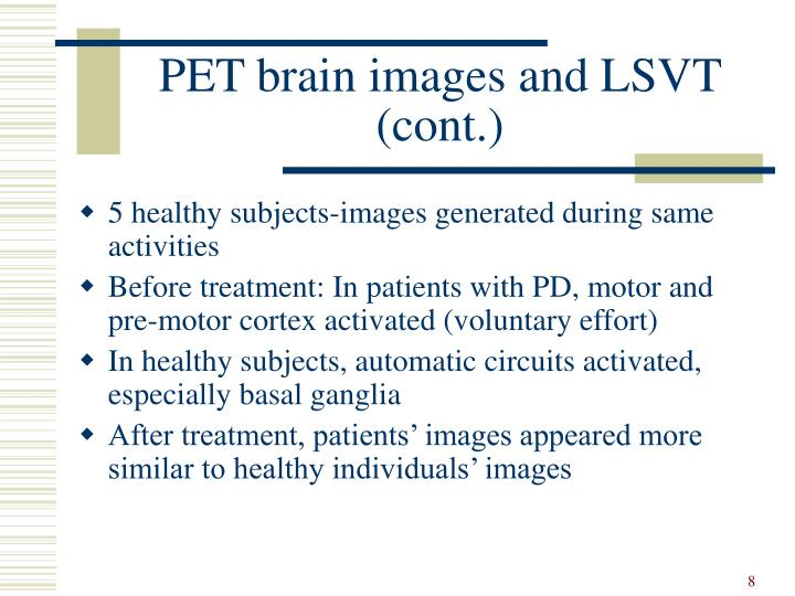 PET brain images and LSVT (cont.)