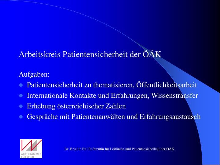 Arbeitskreis Patientensicherheit der ÖÄK