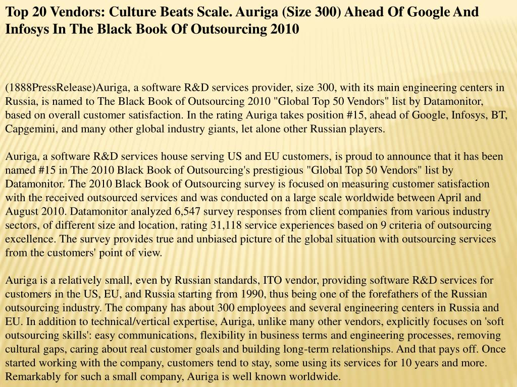 Top 20 Vendors: Culture Beats Scale. Auriga (Size 300) Ahead Of Google And Infosys In The Black Book Of Outsourcing 2010