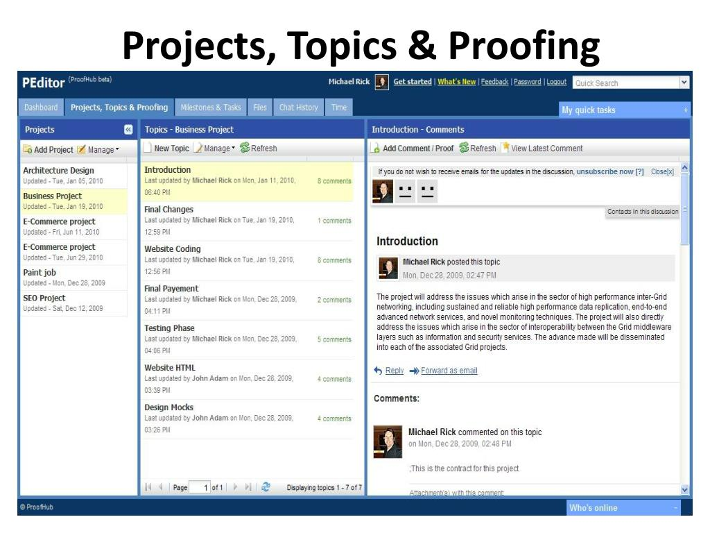 Projects, Topics & Proofing