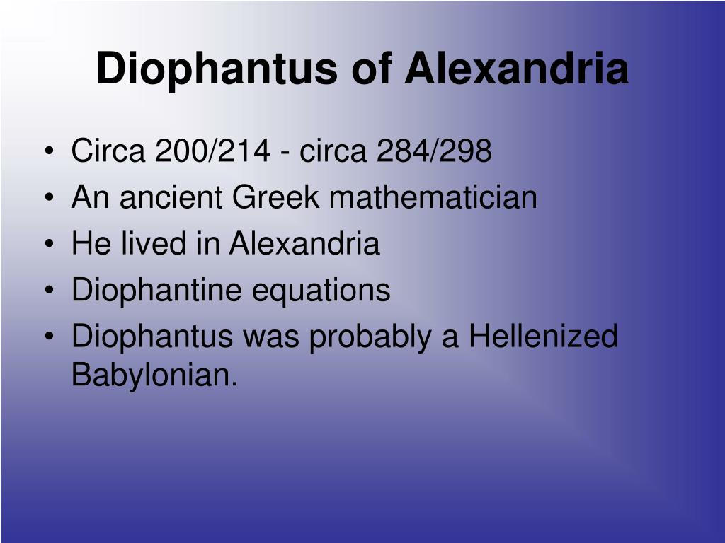 Diophantus of Alexandria