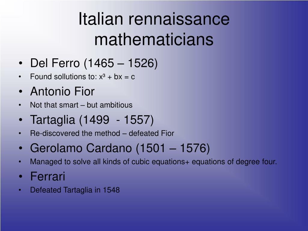 Italian rennaissance mathematicians