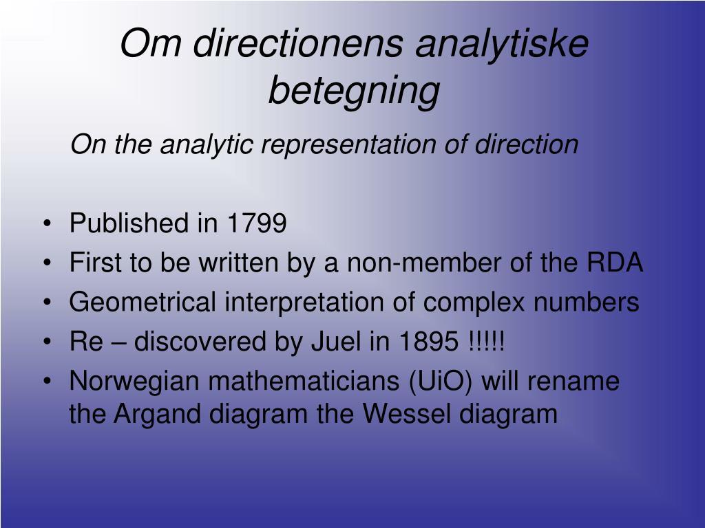 Om directionens analytiske betegning