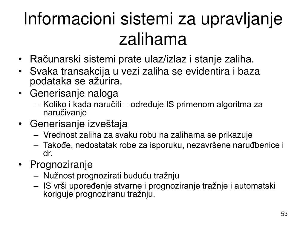 Informacioni sistemi za upravljanje zalihama