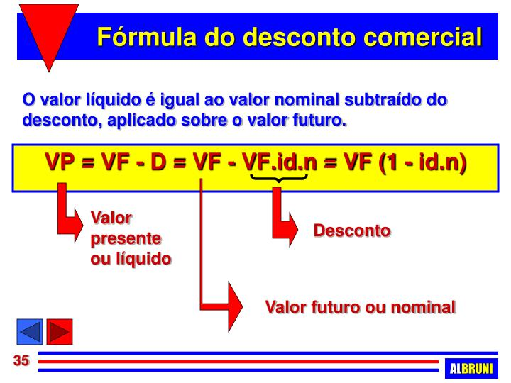 Fórmula do desconto comercial