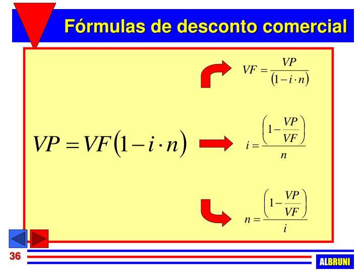 Fórmulas de desconto comercial