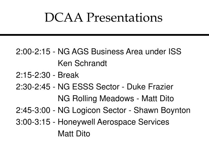 DCAA Presentations