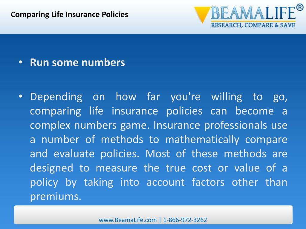 Comparing Life Insurance Policies