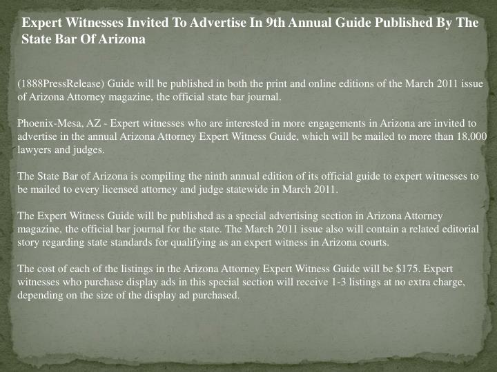 Expert Witnesses Invited To Advertise In 9th Annual Guide Published By The State Bar Of Arizona