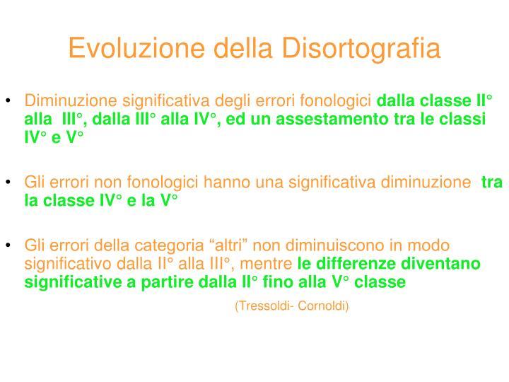 Evoluzione della Disortografia