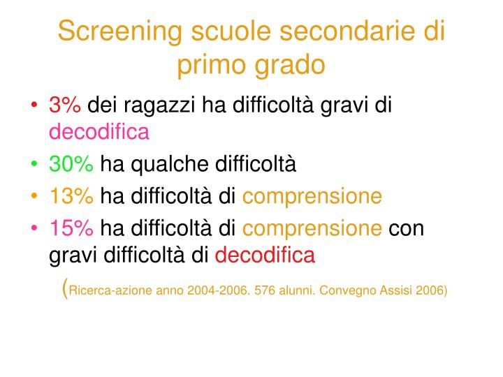 Screening scuole secondarie di primo grado