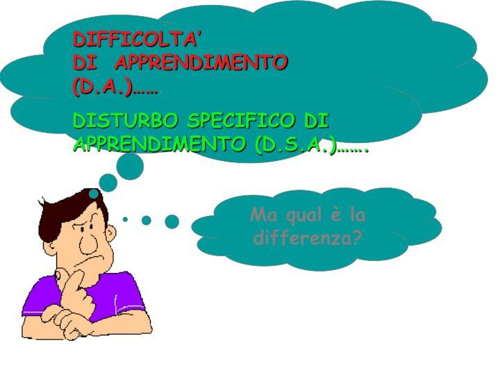 DIFFICOLTA'