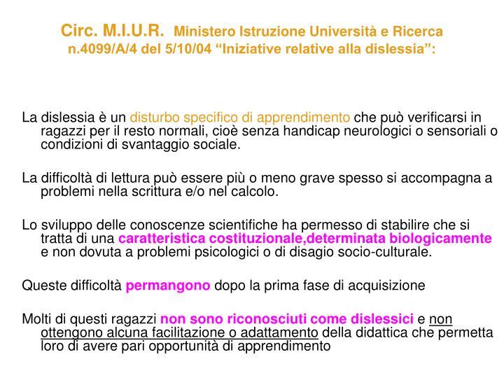 Circ. M.I.U.R.
