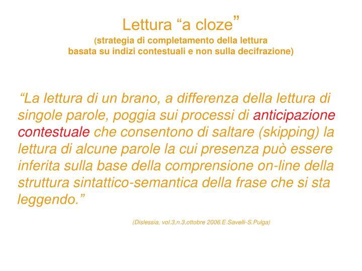 """Lettura """"a cloze"""