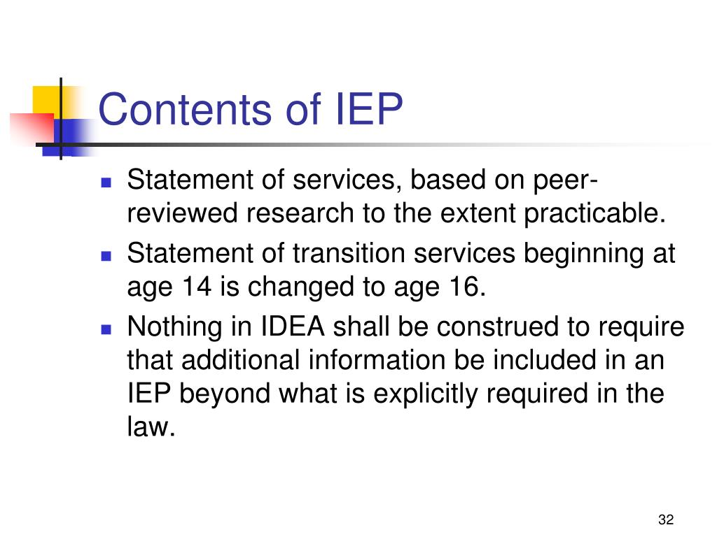 Contents of IEP