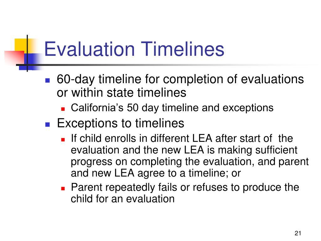 Evaluation Timelines