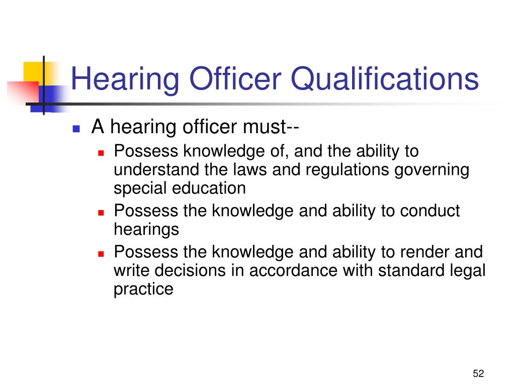 Hearing Officer Qualifications