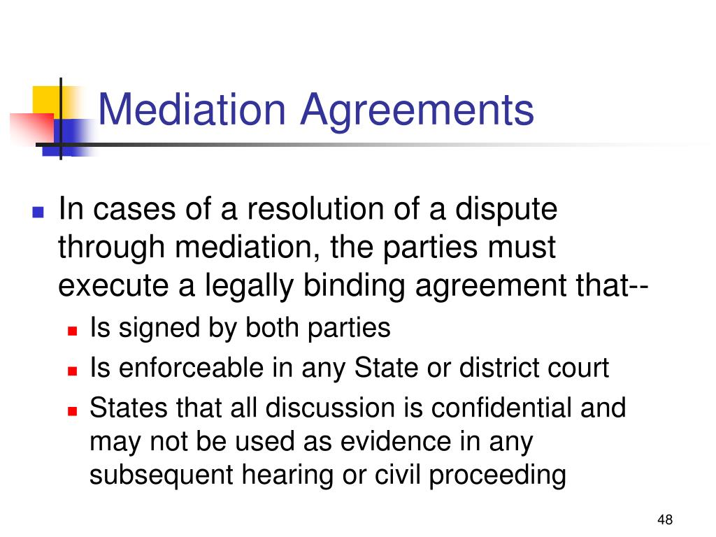 Mediation Agreements