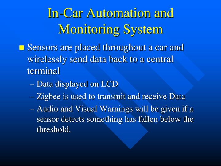 In car automation and monitoring system