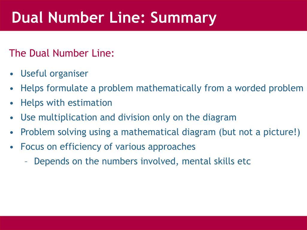 Dual Number Line: Summary