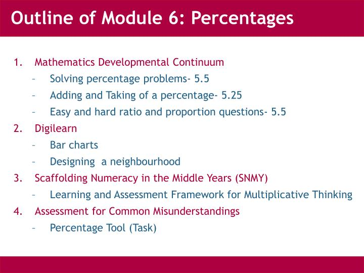 Outline of module 6 percentages