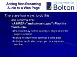 adding non streaming audio to a web page