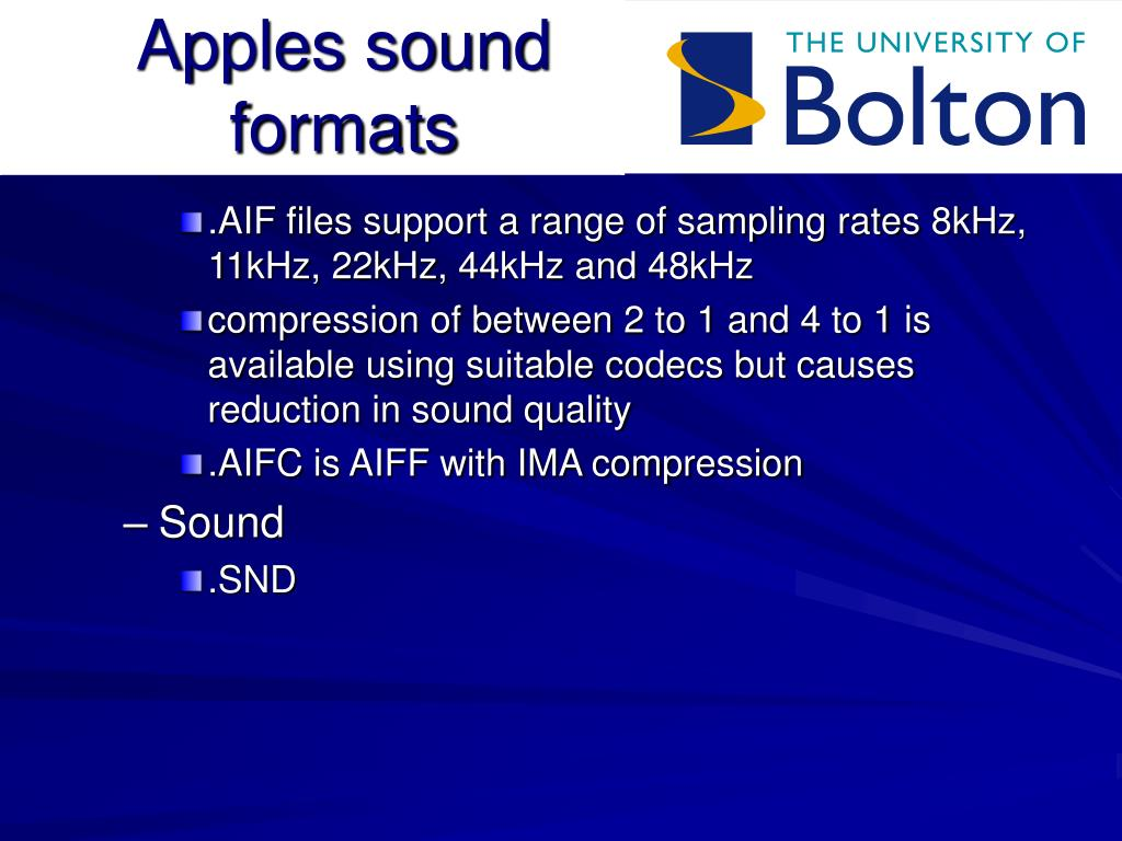 Apples sound formats