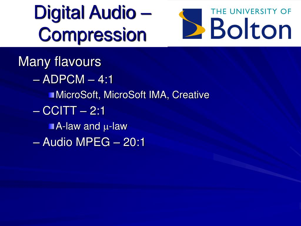 Digital Audio – Compression
