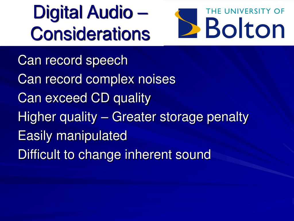 Digital Audio – Considerations