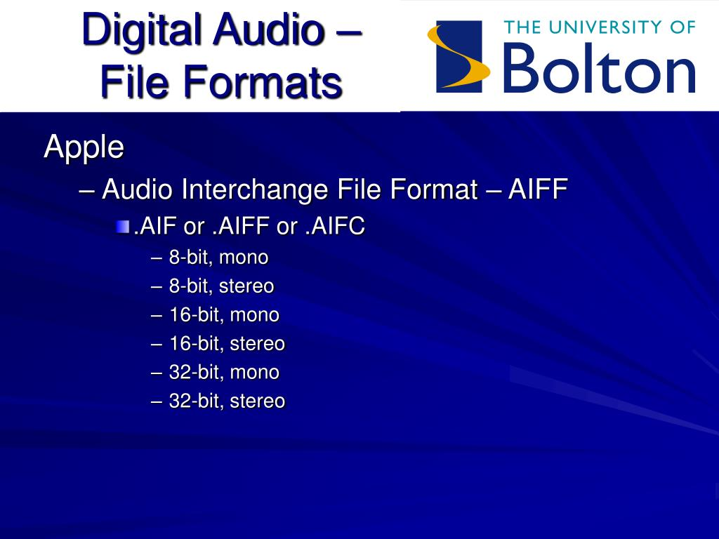 Digital Audio – File Formats