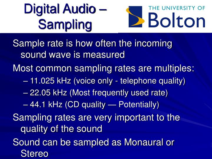 Digital audio sampling
