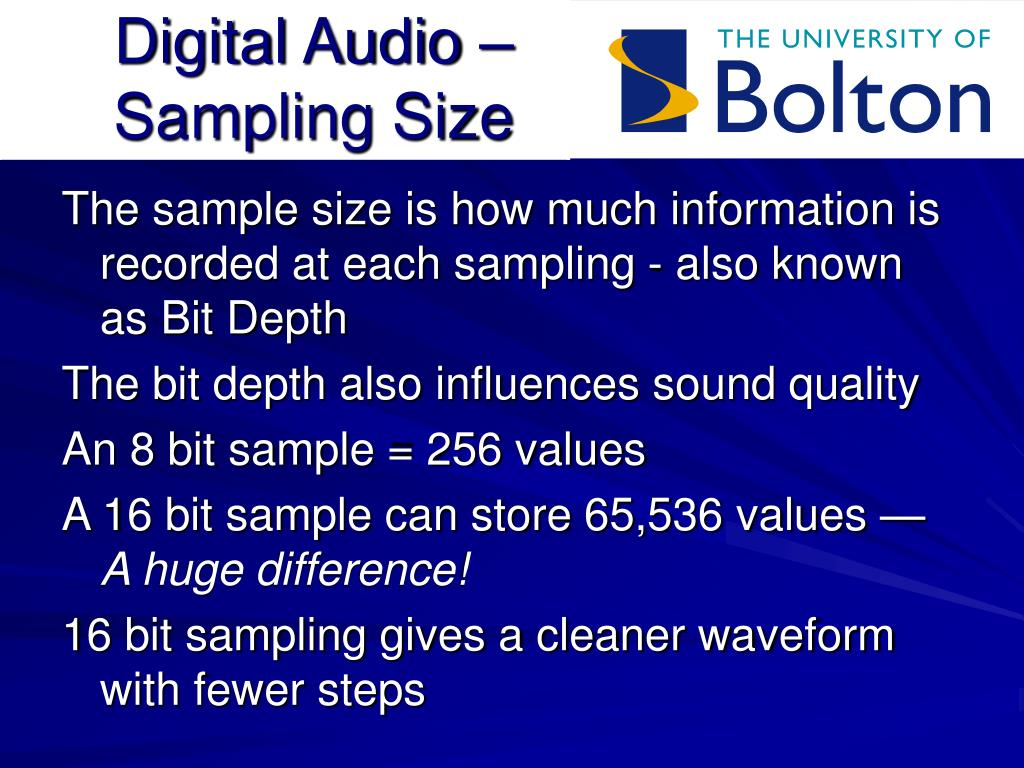 Digital Audio – Sampling Size