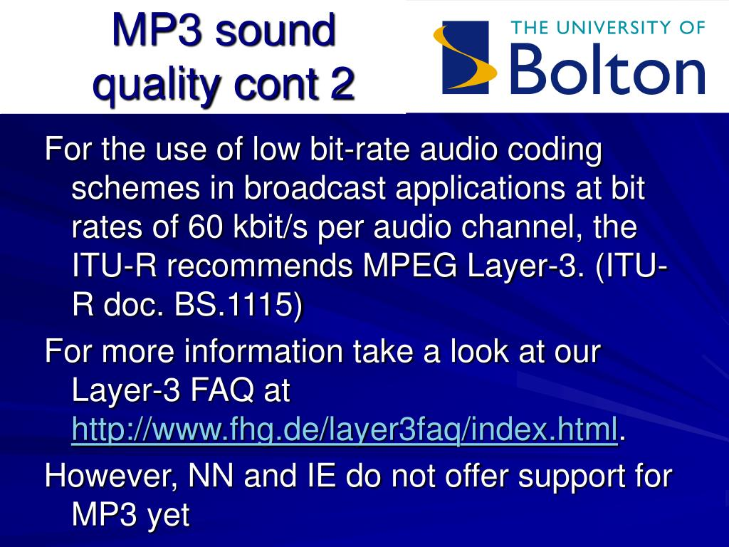MP3 sound quality cont 2