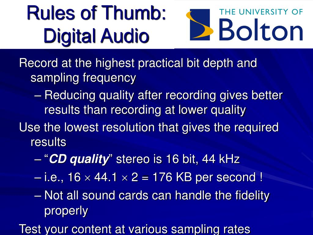 Rules of Thumb: Digital Audio
